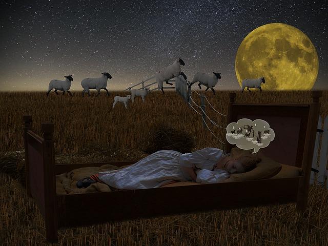 羊を数えながら眠る女子絵