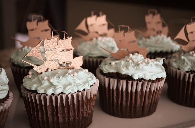 チョコミントのカップケーキ